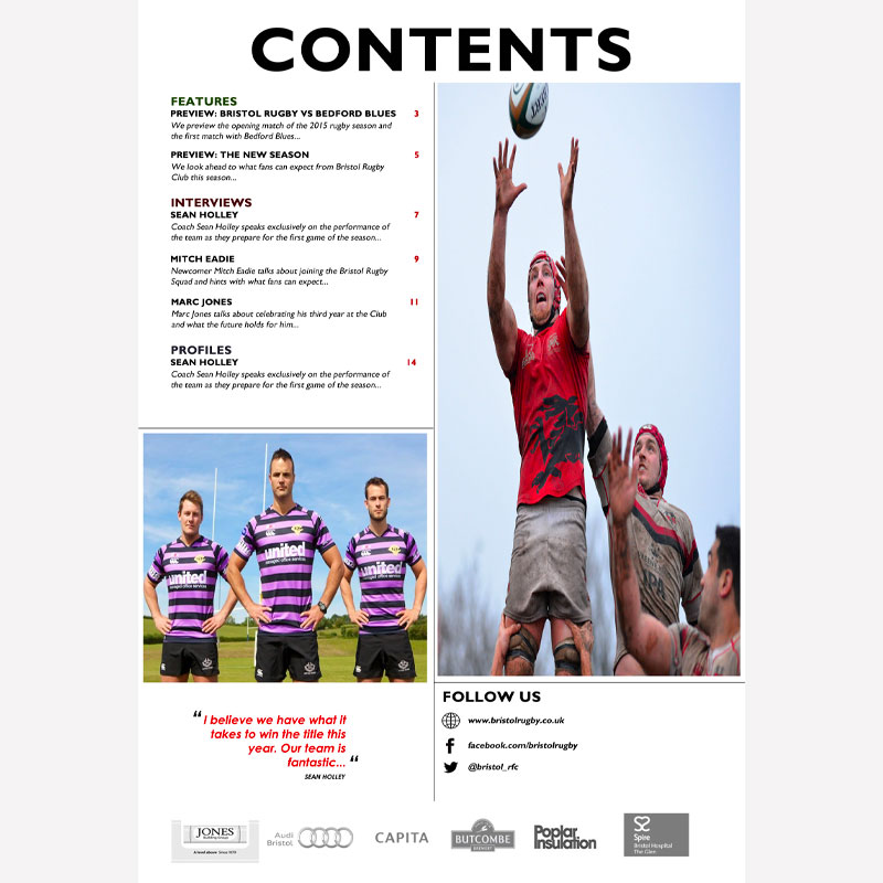 Rugby Match Contents page