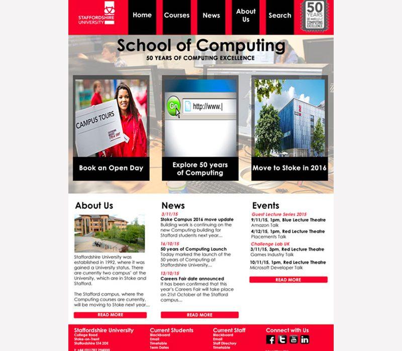 Staffs Uni Website Re-design Mock-up