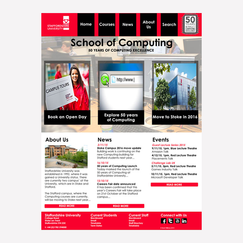 Staffs Uni Website Re-design Mock-up