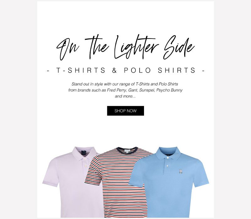 Pritchards: T-Shirts and Polo Shirts Email Graphic